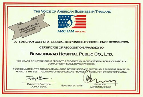Bumrungrad Hospital International AMCHAM's CSR Excellence Award 2015